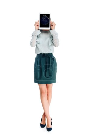 obscured view of woman with tablet isolated on white