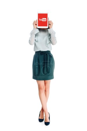 obscured view of woman with tablet with youtube logo on screen isolated on white