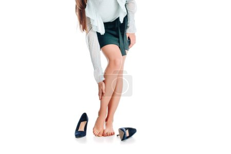 Photo for Cropped shot of female legs isolated on white - Royalty Free Image