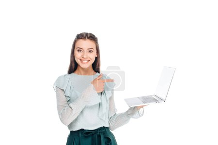 portrait of young smiling woman with laptop isolated on white
