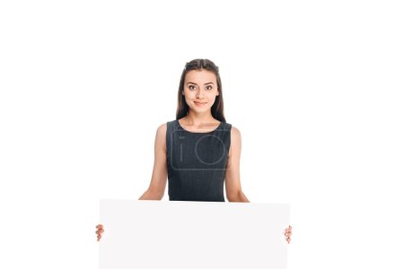 portrait of young woman with blank banner isolated on white