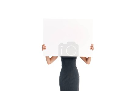 obscured view of woman holding blank banner isolated on white