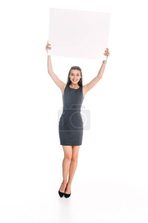 smiling woman with blank banner isolated on white
