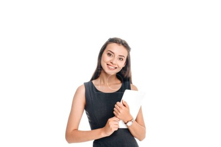 portrait of smiling stylish woman with tablet isolated on white