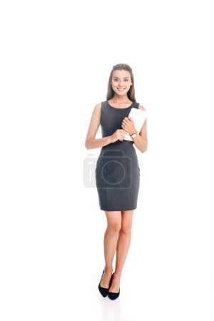 Photo for Smiling stylish woman with tablet isolated on white - Royalty Free Image