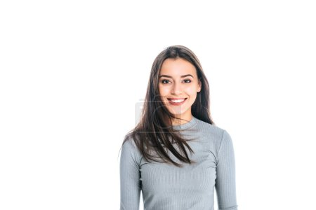 Photo for Portrait of beautiful smiling woman looking at camera isolated on white - Royalty Free Image