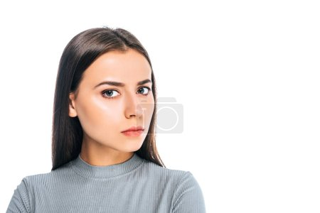 Photo for Portrait of confident young woman looking at camera isolated on white - Royalty Free Image