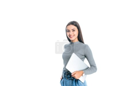 Photo for Portrait of young beautiful woman with laptop looking at camera isolated on white - Royalty Free Image