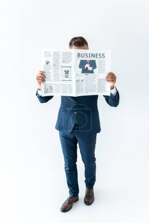 Photo for Businessman covering face with newspaper isolated on white - Royalty Free Image