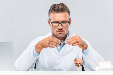 handsome scientist in glasses looking at reagent isolated on white