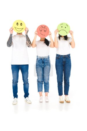 Photo for Group of young people holding round cards with angry, sad and happy face expressions isolated on white - Royalty Free Image