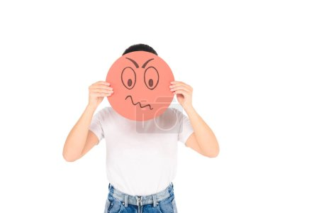 girl holding red sign with angry face expression isolated on white