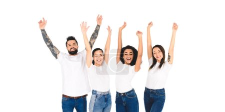 Photo for Multicultural group of friends raising hands in air and smiling isolated on white - Royalty Free Image