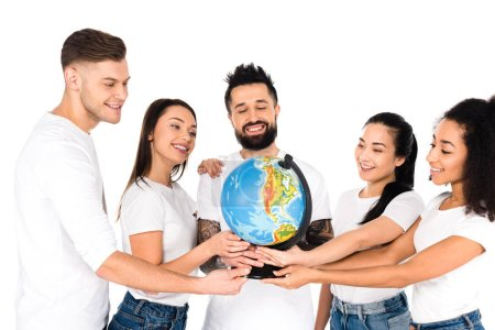 multiethnic group of young people holding globe isolated on white