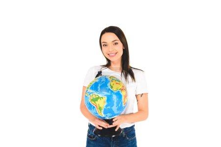 cheerful girl holding globe isolated on white
