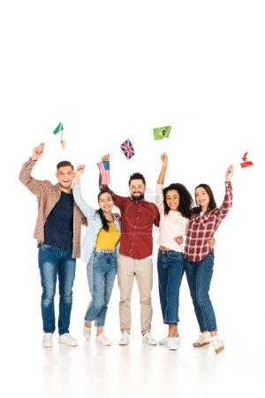 Photo pour Joyeux groupe multiculturel de gens souriants avec des drapeaux des différents pays au-dessus de tête isolé sur blanc - image libre de droit