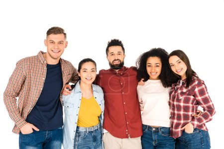 multicultural group of young people smiling and hugging isolated on white