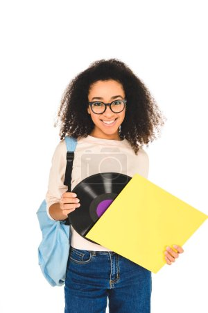 african american girl standing in glasses with vinyl record isolated on white