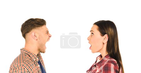 Photo for Profile of surprised girl and screaming man  isolated on white - Royalty Free Image
