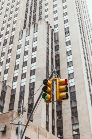 Photo for Urban scene with traffic light and architecture of new york city, usa - Royalty Free Image