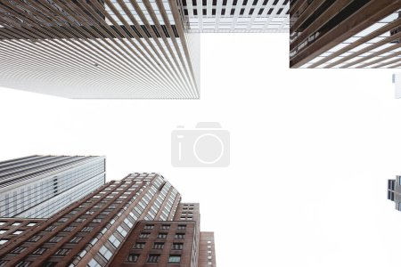 Photo for Bottom view of skyscrapers and clear sky in new york city, usa - Royalty Free Image