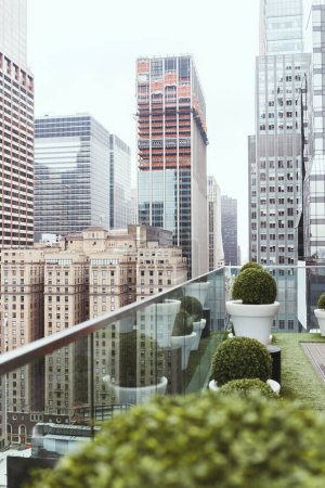 Photo for Scenic view of new york architecture and flowerpots on balcony, usa - Royalty Free Image