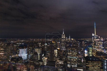 Photo for Aerial view of buildings and night city lights in new york, usa - Royalty Free Image