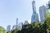"""Постер, картина, фотообои """"Городские сцены с деревьями в городском парке и небоскребы в Нью-Йорке, США"""""""