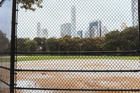 Photo for Playground and buildings on background, new york, usa - Royalty Free Image