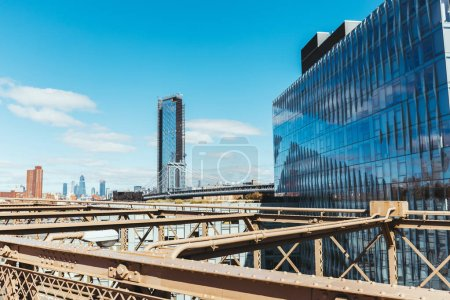 Photo for Urban scene of manhattan from brooklyn bridge in new york, usa - Royalty Free Image