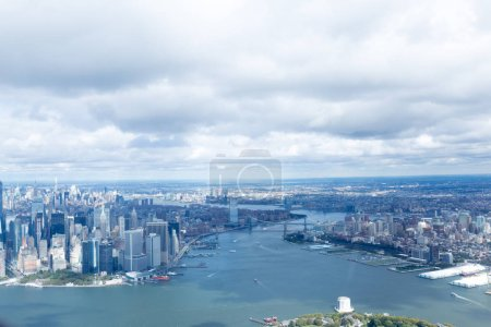 Photo for Aerial view of atlantic ocean and new york city, usa - Royalty Free Image
