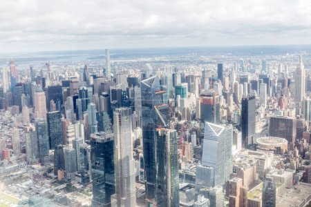 Photo for Aerial view of new york city skyscrapers and cloudy sky, usa - Royalty Free Image