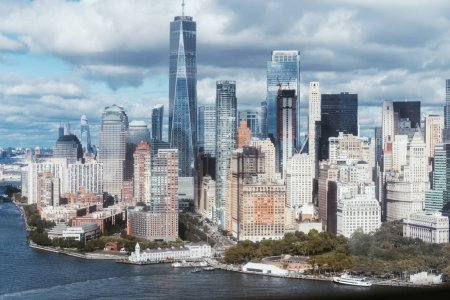 Photo for Scenic view of new york buildings and atlantic ocean, usa - Royalty Free Image