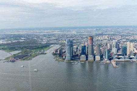 aerial view of new york buildings and atlantic ocean, usa
