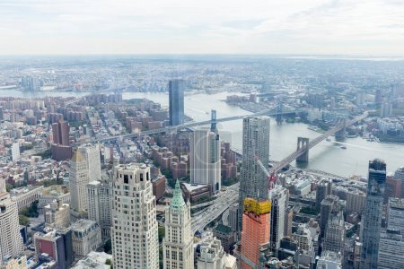 Photo for Aerial view of manhattan and brooklyn bridge in new york, usa - Royalty Free Image