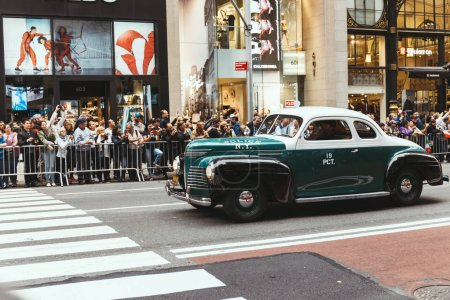 Photo for NEW YORK, USA - OCTOBER 8, 2018: city parade with retro car on street in new york, usa - Royalty Free Image