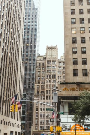 NEW YORK, USA - OCTOBER 8, 2018: low angle view of new york city street, usa