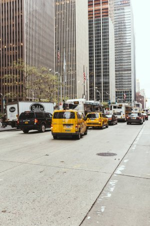 Photo for NEW YORK, USA - OCTOBER 8, 2018: urban scene with new york city street, cars and skyscrapers, usa - Royalty Free Image