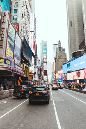 Photo for TIMES SQUARE, NEW YORK, USA - OCTOBER 8, 2018: urban scene with crowded times square in new york, usa - Royalty Free Image