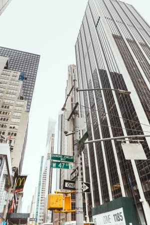 Photo for NEW YORK, USA - OCTOBER 8, 2018: low angle view of new york city street, usa - Royalty Free Image