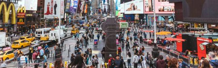 Photo for TIMES SQUARE, NEW YORK, USA - OCTOBER 8, 2018: panoramic view of crowded times square in new york, usa - Royalty Free Image