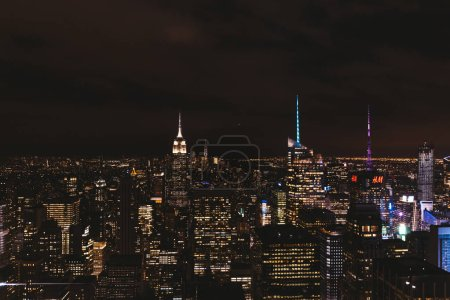 Photo for NEW YORK, USA - OCTOBER 8, 2018: aerial view of new york city at night, usa - Royalty Free Image