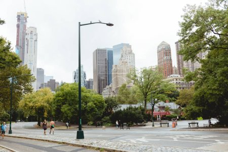 Photo for NEW YORK, USA - OCTOBER 8, 2018: urban scene with skyscrapers and city park in new york, usa - Royalty Free Image
