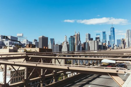 MANHATTAN, NEW YORK, USA - OCTOBER 8, 2018: view on manhattan from brooklyn bridge, new york, usa