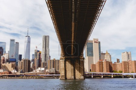 MANHATTAN, NEW YORK, USA - OCTOBER 8, 2018: manhattan and brooklyn bridge in new york, usa