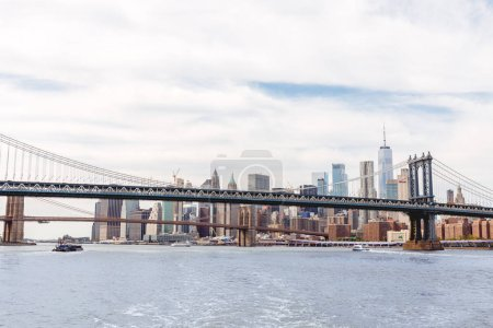 Photo for MANHATTAN, NEW YORK, USA - OCTOBER 8, 2018: beautiful view of manhattan and brooklyn bridge in new york, usa - Royalty Free Image