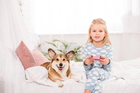 Foto de Niño sentado en cama con pembroke galés corgi perro, holding joystick y jugar videojuegos en casa - Imagen libre de derechos