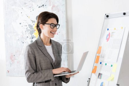 smiling attractive businesswoman using laptop and looking at flipchart in office