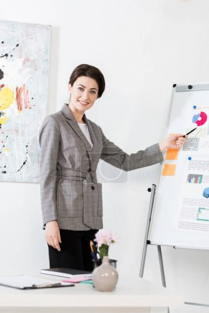 smiling attractive businesswoman in grey suit pointing on flipchart during project presentation in office