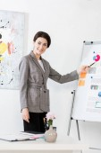 """Постер, картина, фотообои """"улыбаясь привлекательным бизнес-леди в сером костюме, указывая на флипчарт во время презентации проекта в офисе"""""""